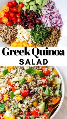 Greek Quinoa Salad with Lentils (Gluten Free) Greek Quinoa Salad with Lentils (Gluten Free),Mediterranean Diet Recipes This Greek quinoa salad recipe is so easy to make! It's a perfect recipe for a warm summer. Quinoa Recipes Easy, Lentil Recipes, Healthy Salad Recipes, Greek Recipes, Whole Food Recipes, Vegetarian Recipes, Cooking Recipes, Vegetarian Salad, Quinoa Meals