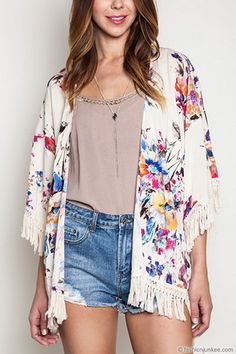 Gorgeous Vintage Inspired Bohemian Floral Watercolor Fringe Kimono Cardigan-Off White Ivory