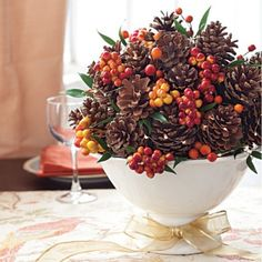 Brighten your table all season long with this beautiful pine cone centerpiece.