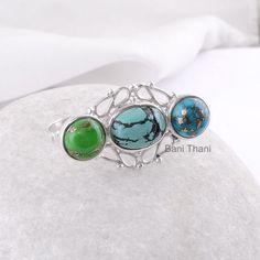 Two Finger Ring Turquoise Gemstone Ring Tibetan by BaniThani