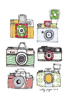 Illustration and surface pattern Doodle Drawings, Doodle Art, Camera Art, Retro Camera, Photo Vintage, Illustrators, Illustration Art, Clip Art, Art Prints