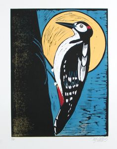 linocut, woodpecker, full moon, woodland, yellow, blue, black, bird, printmaking, nature art, forest bird, graphic art, stylized art, by linocutheaven on Etsy https://www.etsy.com/listing/533815954/linocut-woodpecker-full-moon-woodland