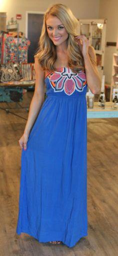 Dottie Couture Boutique - Royal Blue Embroidery Maxi, $52.00 (http://www.dottiecouture.com/royal-blue-embroidery-maxi/)