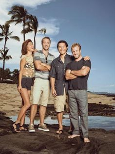 Hawaiian Punch: The cast of Hawaii Five-O- Grace Park, Alex O'Loughlin, Daniel Dae Kim, and Scott Caan-- photographed by Emily Shur for Watch! Magazine.