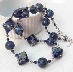 Blue Lampwork Glass Bead Necklace Gemstone by BeguiledByTheBead, £42.00