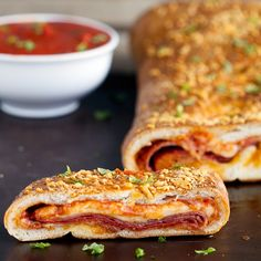 How to Make Stromboli - Recipe for how to make homemade stromboli made with pizza dough. Real dough, stuffed pepperoni salami and cheeses, authentic Italian