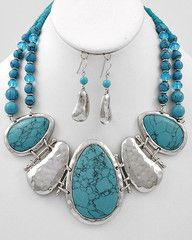 Tickle Me Turquoise Silver and Turquoise Statement Necklace-$21-Find hot fashion jewellery and statement jewlry at Strike Envy. #jewellery #jewlry