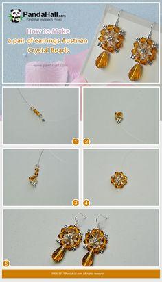 #PandaHall #JewelryMaking #Tutorial on Making #Stitch dangled #Earrings with #AustrianCrystal Beads