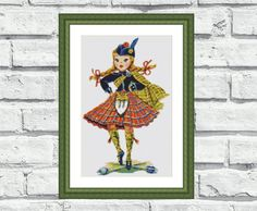 """Elegant, colourful, modern, vibrant and cheerful pattern """"Scottish Doll"""". These patterns look especially attractive when viewed from a distance and so easy to stitch! Perfect for modern interiors and any room in your home including living rooms, kids rooms and bedrooms."""