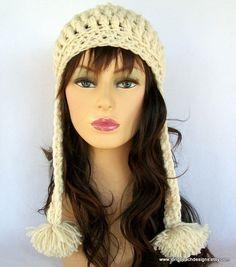 Crochet Ear Flap Hat Pattern Crochet Hat by longbeachdesigns, $3.99