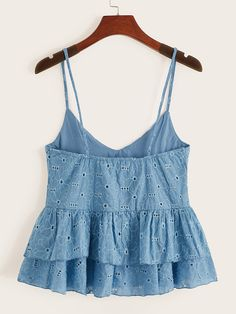 Blue Boho Cute Schiffy Plain Cami Fabric has no stretch Summer Tank Tops & Camis, size features are:Bust: ,Length: Regular ,Sleeve Length: Crop Top Outfits, Mode Outfits, Trendy Outfits, Summer Outfits, Girl Outfits, Fashion Outfits, Cami Tops, Cute Tank Tops, Summer Tank Tops