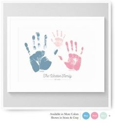 Handprint Art Baby Handprint Family Handprints by nurseryartprints Family Crafts, Baby Crafts, Crafts For Kids, Newborn Crafts, Baby Footprint Crafts, Handprint Art, Baby Handprint Ideas, Baby Footprints, Foto Baby
