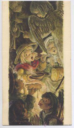 FELICITACION NAVIDAD *FERRANDIZ* - 1959 (22 X 12 CM) Holy Night, Sacred Art, Halloween, Illustration, Christmas, Painting, Holidays, Birth Of Jesus, Etchings