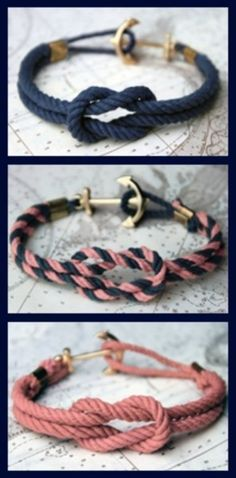 Loving this DIY project ~ a nautical knot bracelet with the cutest anchor hook. Click here to view the full tutorial on how to make one of your own. For easier view, here are the directions:Supplies needed:Thick rope in any color, an anchor charm, large crimping beads, and some thin rope 1. Measure the thicker rope by wrapping it once around your wrist. Add 1-2 inches to that length and cut. Repeat with a second piece of rope. 2. Take one of the pieces of rope, bending it in half to create a…