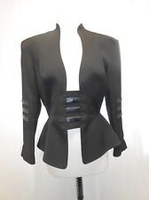 THIERRY MUGLER black blazer jacket with leather panels 40 2 4