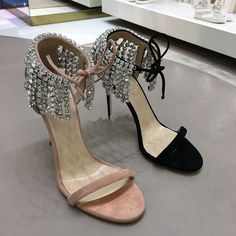 66.00$  Watch more here  - AVVVXB 2017 Summer Sandal Shoes Woman Genuine Leather Rhinestone High-heeled Sandals Crystal Tassel Thin Heels Sandalias Mujer