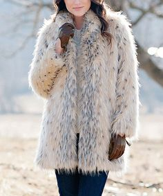 Look what I found on #zulily! Ivory Arctic Leopard Faux Fur Shawl Collar Coat - Plus Too #zulilyfinds