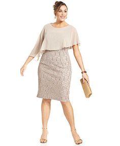 Alex Evenings Plus Size Dress, Short-Sleeve Capelet Lace Sequin - Plus Size…