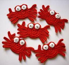 5-Stück-Set, Krabbe, Krebs  von Stokkan auf DaWanda.com Form Crochet, Crochet Motif, Crochet Baby, Knit Crochet, Crochet Patterns, Crochet Seashell Applique, Crochet Mermaid, Crochet Flowers, Little Mermaid Crafts