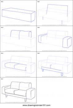 How to Draw a Couch printable step by step drawing sheet : . - How to Draw a Couch printable step by step drawing sheet : - - ? Drawing Lessons, Drawing Techniques, Drawing Tips, Drawing Sketches, Drawing Ideas, Sketching, Drawing Furniture, Chair Drawing, Drawing Interior