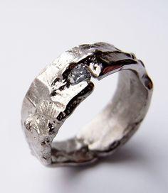 Freeform ring, 18ct white gold and brilliant cut diamond. Kelvin J Birk 2014