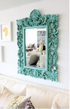 Love this pop of color in a room with crisp colors....