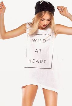 Wildfox Couture Wildest Heart Muscle Tank in Clean White
