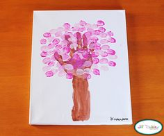 Meet the Dubiens: craft: thumbprint/handprint spring blossom tree Crafts To Do, Crafts For Kids, Kids Diy, Hand Print Tree, Hand Prints, Thumbprint Tree, Thumbprint Crafts, Deco Kids, Footprint Crafts