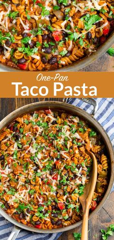 You will love this Healthy Cheesy Taco Pasta. It's made with chicken or ground beef and loaded with Mexican flavor. And it's made in one pan! Taco Pasta Recipes, Healthy Pasta Recipes, Healthy Pastas, Easy Healthy Dinners, Cooking Recipes, Meal Train, Healthy Mexican Recipes, Healthy Tacos, One Pot Meals
