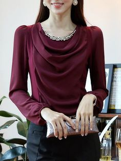 Page Not Found , Dresslily is an online shopping store who providing fashion dresses, quality electronics. A cheap clothes shopping is easy here. Blouse Styles, Blouse Designs, Burgundy Top, Beaded Chiffon, Work Attire, Work Fashion, Autumn Fashion, Fashion Dresses, Womens Fashion
