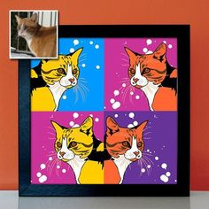 Katze als Pop Art Star - Tierportrait nach Foto gemalt, bunte Katzenbilder zeichnen lassen - Geschenk Geschenkidee für Katzenhalter Pet Water Fountain, Pop Art Portraits, Poster, Stars, Retro, Pictures, Candid Photography, Canvas Frame, Artworks