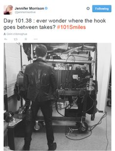 """Jennifer Morrison and Colin O'Donoghue """"Ever wonder where the hook goes between takes ?"""""""