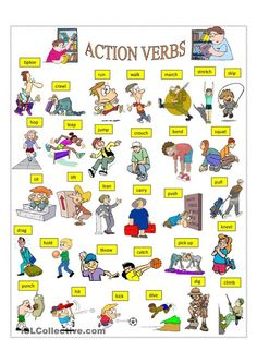 A collection of English ESL Verbs: Action verbs worksheets for home learning, online practice, distance learning and English classes to teach about English Verbs, Learn English Grammar, English Vocabulary Words, Learn English Words, English Writing, English Study, English Lessons, French Lessons, Spanish Lessons