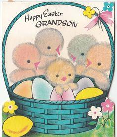 Fuzzy chicks with a basket