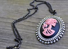 Pink and Black Lolita Skull Cameo Necklace by cynicalredhead
