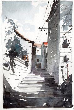 Korcula 1, watercolor by Tony Belobrajdic   AGA Design 2015 Resolution : DRAW MORE