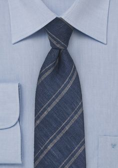 Blue Linen Tie with Taupe Stripes, $39.90 | Cheap-Neckties.com