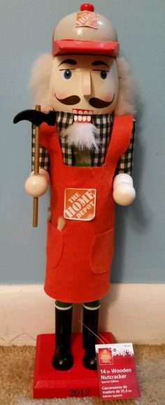 14in Wooden Nutcracker Home Depot Man W/tools 2012 Special Edition