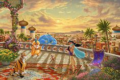 Enter to Jasmine Dancing in the Desert Sunset Sweepstakes and win Thomas Kinkade Studios painting. Sweepstakes open for all US residents. Cute Disney, Disney Dream, Walt Disney, Disney Jasmine, Princess Jasmine, Disney Fine Art, Pinturas Disney, Dancing In The Moonlight, Princess Drawings