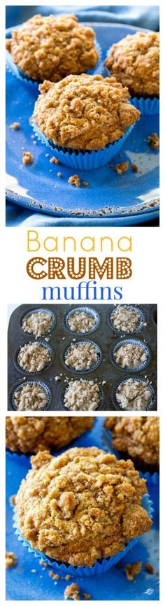 Banana Crumb Muffins - Moist banana muffins with a little cinnamon and nutmeg…