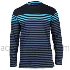 Camiseta Ternua modelo Preston para hombre.   Color negro con rayas grises y azules.   Diseño en cuello redondo y manga larga.   Composición: 100% algodón.