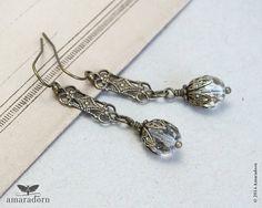 Art Deco Earrings Brass Filigree Earrings Edwardian by Amaradorn