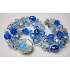 Hattie Carnegie Bracelet Bead Blue Clear Crystal Triple strand with... ($80) ❤ liked on Polyvore featuring jewelry, bracelets, blue bangles, blue jewelry, rhinestone jewelry, rhinestone bangles and clasp jewelry