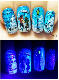 The Chronicles of Narnia ⎮ Glow in the Dark Freehand Nail Art Tutorial Narnia, Great Nails, Cute Nails, Gel Nail Art, Nail Polish, Book Nail Art, Glow Nails, Finger Nail Art, Nailart