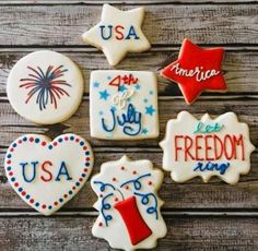 Summer Cookies, Fancy Cookies, How To Make Cookies, Holiday Cookies, Cupcake Cookies, Star Cookies, 4th July Cupcakes, 4th Of July Desserts, Patriotic Desserts