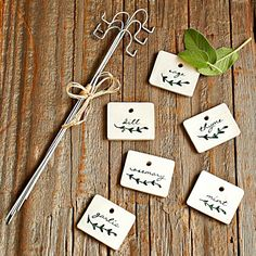 White Ceramic Herb Garden Markers With Hooks