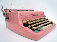 PINK 1950s Royal Typewriter via Etsy. That I want so bad. I think the clicking of the keys will inspire me to write even more.
