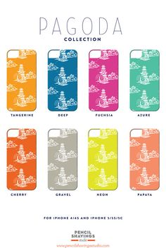 Pagoda Collection iPhone and Samsung by PencilShavingsStudio, $40.00