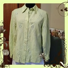 Embroidered Eyelet Blouse Lovely shade of lemongrass green. Embroidered eyelet cutouts on front and sleeves of blouse, side vents. This is Petite sizing. 55% linen 45% rayon. Excellent pre loved condition. Coldwater Creek Tops Blouses