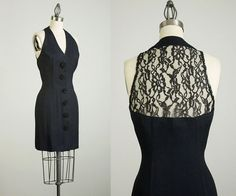 90s Black lace back mini dress. Button front with lacey rosette buttons, slim fitting shape, sheer lace back, soft and lightweight. Made of rayon and